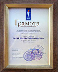 "Certificate of awarding Medal ""Status award – Professional of Industry"" to the director of ""SV"" company Salai V.V."